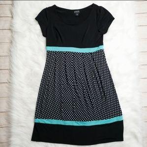 En Focus Studio Black and Teal Dress